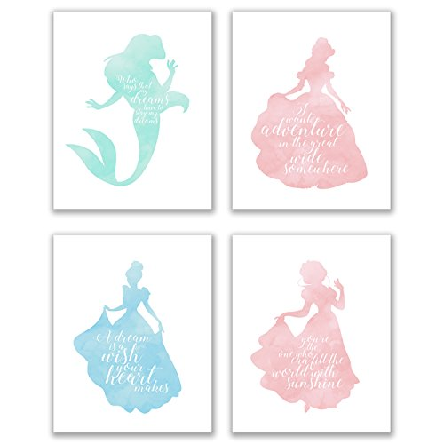Summit Designs Disney Princess Inspirational Quotes - Set Of 4 (8x10) Poster Photos - Cinderella Snow White Belle Ariel