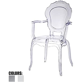 2xhome - Belle Style Ghost Chair Ghost Armchair Dining Room Chair - Clear  Armchair Lounge Chair