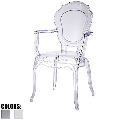 2xhome - Belle Style Ghost Chair Ghost Armchair Dining Room Chair - Clear Armchair Lounge Chair Seat Higher Fine Modern Designer Artistic Classic Mold