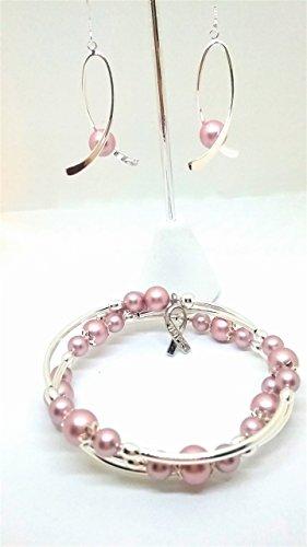 Swarovski Breast Cancer Bracelet - Breast cancer awareness jewelry set . Earrings and bracelet with Swarovski pearls.