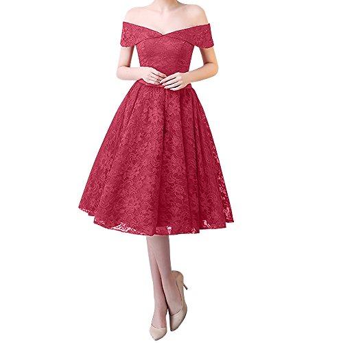 Knielang Partykleider Ausschnitt Kurz Damen Ballkleider Rosa Rock Linie Abendkleider Charmant a v Spitze Rosa Dunkel Dunkel xIvn8Y
