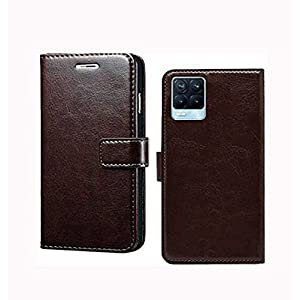RK Seller Flip Cover Xiaomi Realme 8 5G PU Leather Vintage Case with Card Holder and Magnetic Stand-(Coffee)(Shockproof)