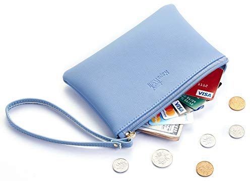 - NapaWalli Genuine Leather Cash Coin Purse Pouch Make up Cellphone Bag with Strap (Cutie Blue Classic)