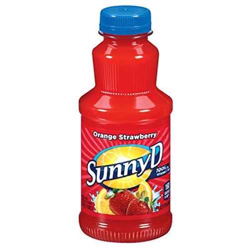 Sunny Delight Orange Fused Strawberry Beverage, 16 Ounce Bottle, Pack of 12