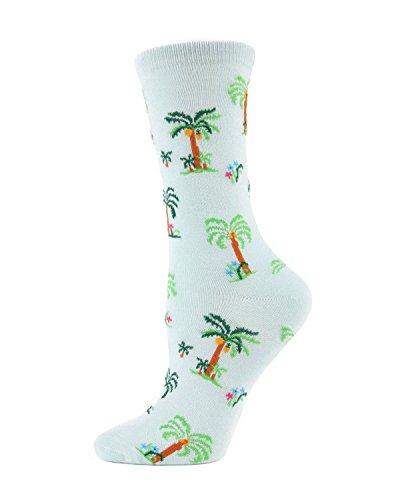 - MeMoi Palm Tree Paradise Crew Socks Mint MWN00123 One Size