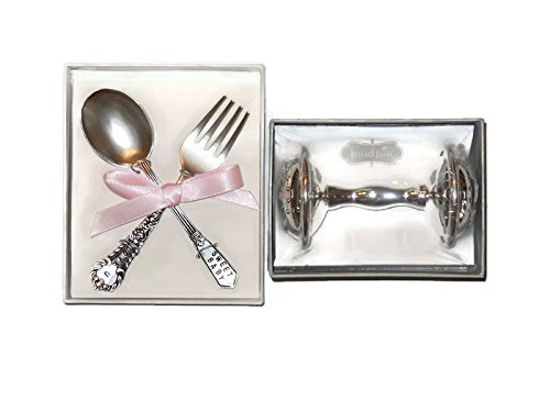 Mud Pie Baby Classic Keepsakes Silver-Plate Rattle Bundle With Baby Girl Keepsakes Feeding Set, Perfect Christening-Baptism-Baby Shower Gift Boxes For (Silver Rattle)