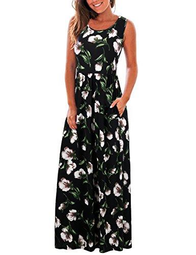 FINMYE Sunflower Dress Women's Summer Beach Midi Flared Tank Dress White L (Cool Dress Summer)