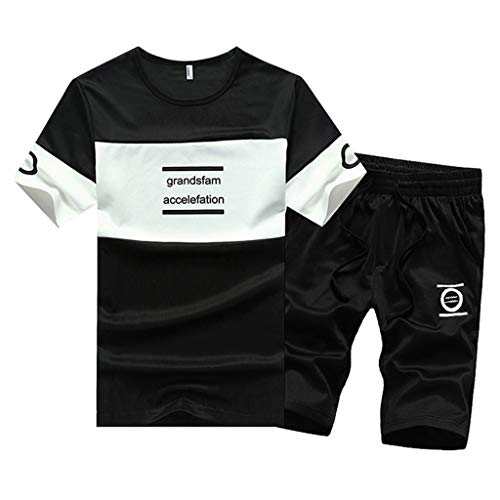 Sports Shorts Thin Sets Mens Summer Leisure Fashion Color Collision Short Sleeve Top Tracksuit Black ()