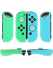 TNP Gel Guards med Thumb Grips Caps för Nintendo Switch Joy-Con Grip – Skyddande fodral skydd halkfri lätt djur crossing design comfort grip Controller Skin Accessories (1 par raccoon)
