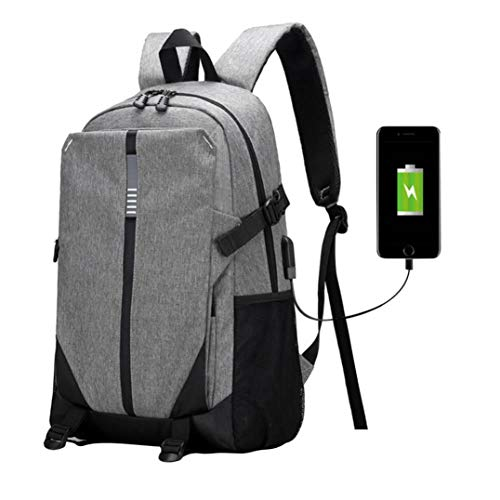 Price comparison product image Outsta Multifunction USB Charging Large Capacity Backpack, Shoulder Bag Men's Casual Outdoor Package Unisex Fashion Purse Waterproof Casual Solid Color with Bottle Side Pockets (Gray)