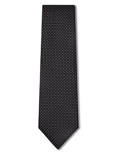 Origin Ties Handmade Silk Skinny Tie Crossed Textured with Pin Dots Fashion Necktie Black