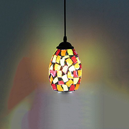 Tiffany Style Pendant Light, Motent Retro Mosaic Chandelier Glass Lamp Shade Hanging Light Fixture for Bar Coffee House Art Gallery - 4.3 inches Dia by MOTENT