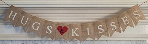 Hugs & Kisses Bunting Garland Burlap Banner - Valentine's Day Party Decor - Wedding & Engagement Supplies - Bridal Shower Decorations -Save the Date Photo Prop by Jolly Jon - Day Dates Valentine