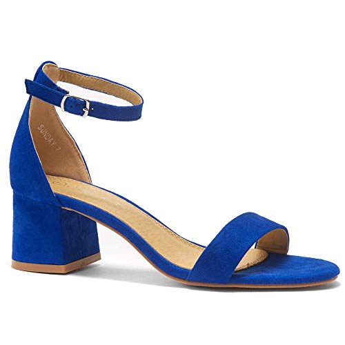 (Herstyle Sunday Women's Open Toe Ankle Strap Block Chunky Low Heeled Sandal Comfortable Office Pump Shoes Royal Blue 7.5)
