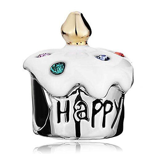 White Birthday Cake Charm (LovelyJewelry Happy Birthday Cake White Drip Gum Beads For Bracelets)