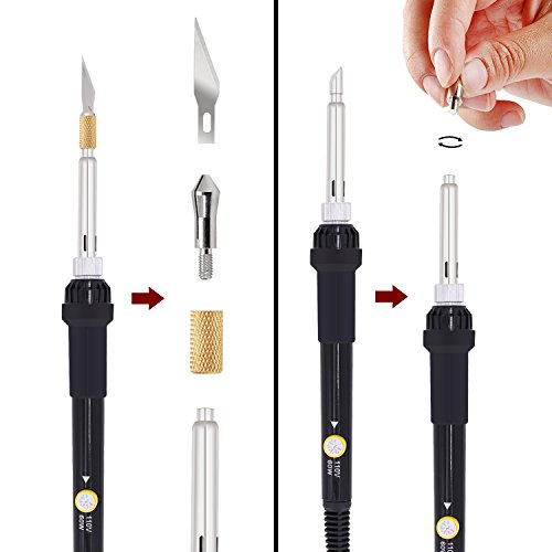 Professional Wood Burning Kit Tool with 60W Pyrography Pen, Adjustable Temperature 200~450℃ and Various Wood Embossing/Carving/Soldering Tips for Creative Wood Burner Set (1)