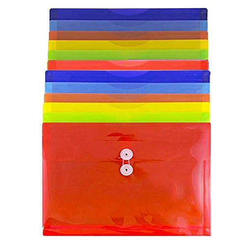 "JAM Paper Plastic Envelope with Button and String Tie Closure - Letter Booklet - 9 3/4"" x 13"" - Assorted Colors - 12/pack"