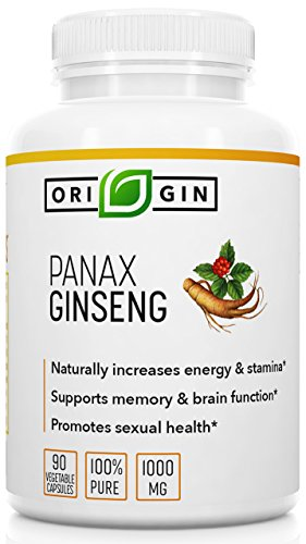 Origin Labs Pure Korean Red Panax Ginseng 90 Veg. Capsules 1000mg Per Serving for Sexual & Mental Health for Men & Women