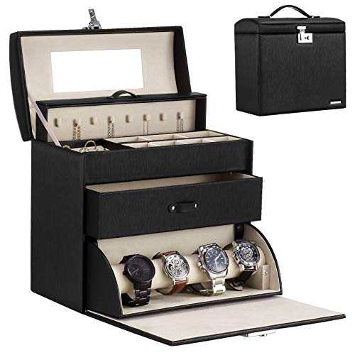 Homde Jewelry Display Box for Men Necklace Sunglasses Fully Locking with Watch Hanger Bracelet Holder Mirror Black
