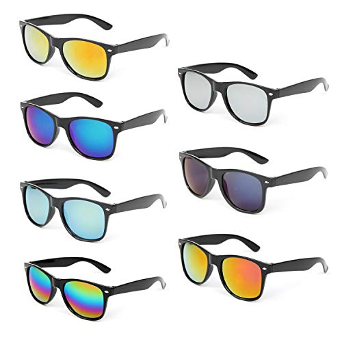 7 Packs Wholesale Unisex Mirrored Reflective Color Lens Retro Style Party Sunglasses for Men and Women (7 Pack Mix) -