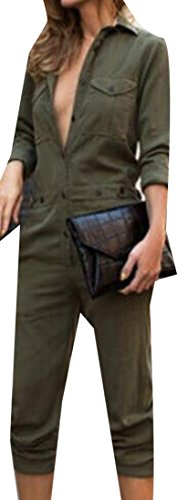 NQ Women's Casual Long Sleeve Jumpsuit Lapel Shirt Long Romper Army Green Small