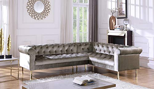 (Iconic Home FSA9208-AN Giovanni Right Facing Sectional Sofa L Shape Velvet Upholstered Button Tufted Roll Arm Design Solid Gold Tone Metal Legs Modern Transitional Taupe)