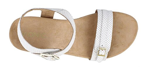 VIONIC With Orthaheel Technology Womens Noble Laurie Sandal (9.5 B(M) US, White Snake)