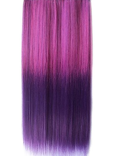 25 Inch Clip in Synthetic Purple Gradient Straight Hair Extensions with 5 Clips (Harley Quinn Costume Commission)