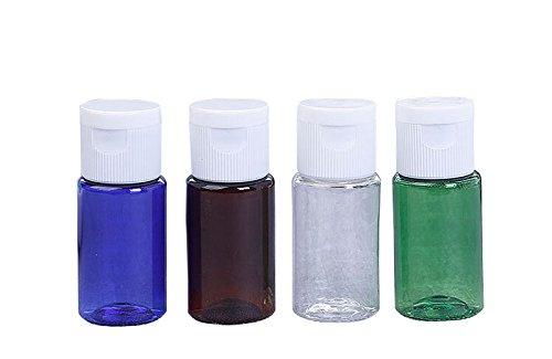 TOPWEL 4pcs 10ml Refillable PET Plastic Essential Oil Bottle with White Flip Top Lid