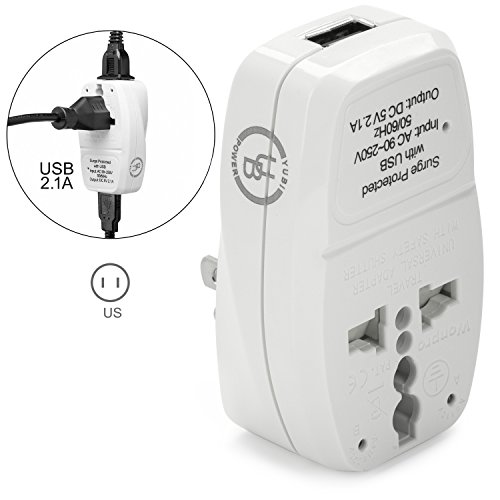 Yubi Power 3 in 1 Universal Travel Adapter with 2 Universal Outlets and 1 USB 2.1A Port - Built in Surge Protector and Light Indicator - Plug Type B for USA, Canada, Japan, Puerto Rico, Mexico & More!