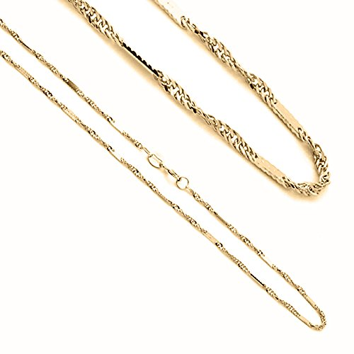 1.5mm 14K Yellow Gold Snail Chain Necklaces 14k Yellow Gold Snail Chain