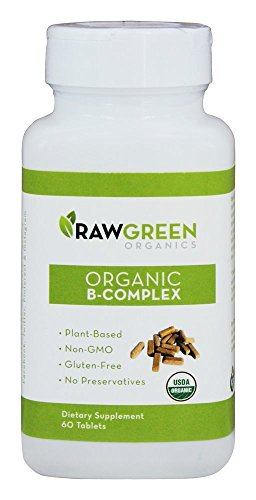 Raw Green Organics – Organic B-Complex – Plant Based Vitamin B Complex to Support Energy and Nervous System – 60 Tablets