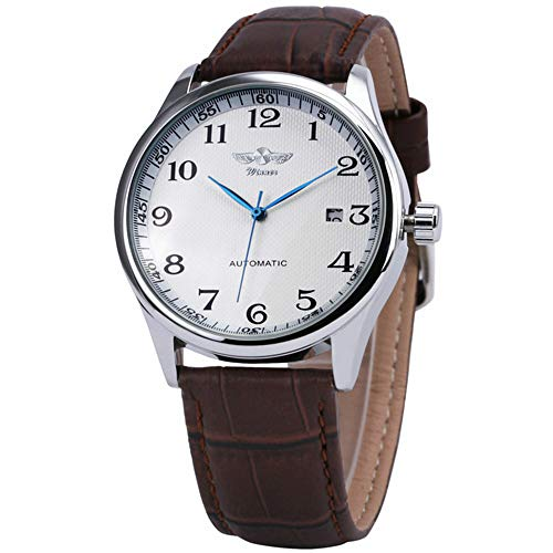Winner Dress Men Auto Mechanical Arabic Number Date Display Brown Milimalist Wristwatch