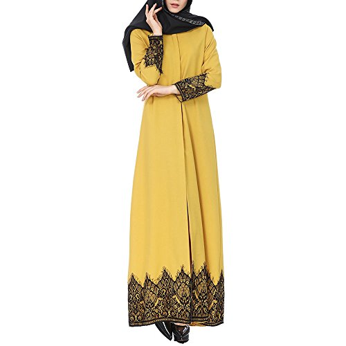 Muslim Dresses Women Plus Size Print Dubai Kaftan Arab Abaya Islamic Long Sleeve Maxi Dresses Lace Stitching Maxi Dress