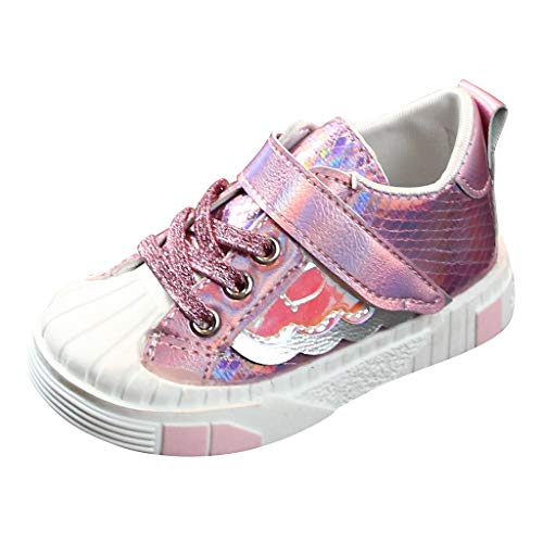 POPNINGKS Baby Toddler Girls Led Light Shoes Sneakers for 1-14 Years Old Kids Soft Luminous Outdoor Sport Running Shoes Pink