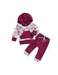 Iuhan  for 0-24Months Baby Outfit Set Infant Floral Hoodies Tops Pants 2Pcs Outfits