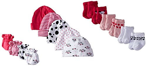 Gerber Baby-Girls Newborn Dalmatian 15 Piece Socks Caps and Mittens Essential Gift Set, Dalmatian, 0-3 - Stripe Piece Stockings 3