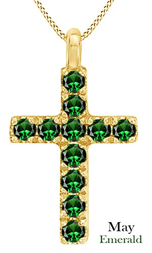 Emerald Round Cross - AFFY Round Cut Simulated Emerald Cross Pendant Necklace In 14k Yellow Gold Over Sterling Silver