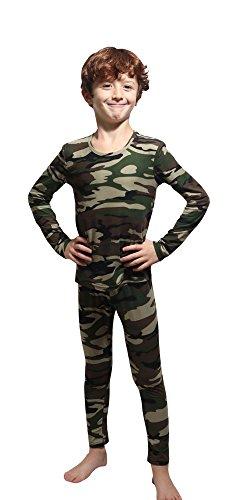 Outland Children's Thermal Set Lightweight Ultra Soft Fleece Interior, Camouflage 12-14