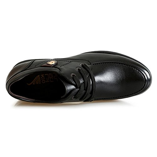 Business Leather Genuine Increasing Taller Inches Height Flat Shoes 97 Shoes Leather Black 1 Elevator qPYzfnx