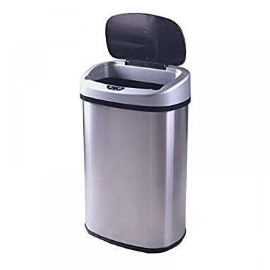 New 13-Gallon Touch-Free Sensor Automatic Stainless-Steel Trash Can Kitchen