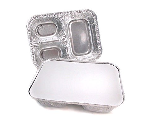 Disposable Aluminum 3 Compartment T.V Dinner Trays with Board Lid #210L (500)