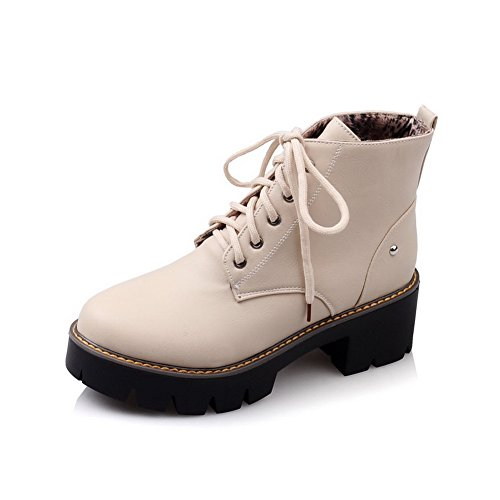 Imitated Studded Rivet Boots Platform Bandage Beige Womens BalaMasa Leather nO7U6BS