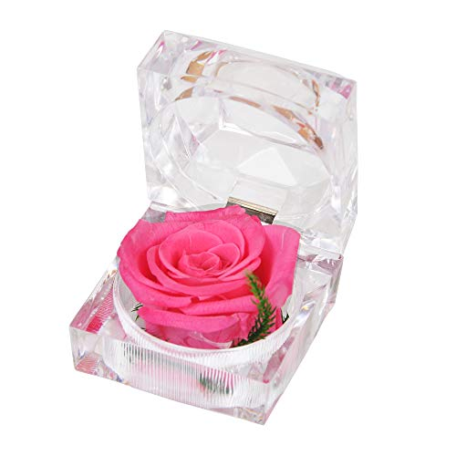 Handmade Preserved Fresh Flower Rose with Acrylic Crystal Ring Box ,a Gifts for Women,Her,Sister,Girls, Christmas,Thanksgiving Day, Anniversary, Birthday, Wedding etc(Pink) ()