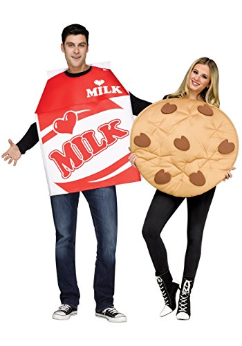 Fun World Unisex Cookies & Milk Adult Cstm, Mulricolor, Standard -
