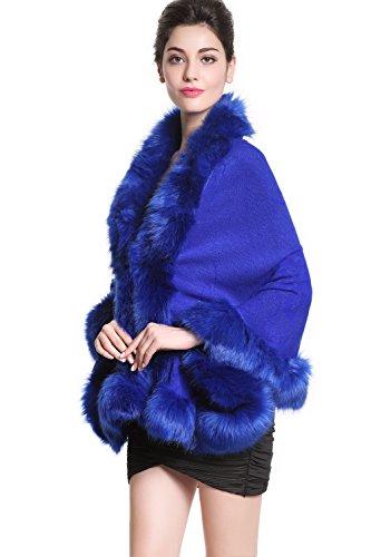 Faux Fur Shawl Wrap Stole Shrug Bridal Winter Wedding with Hook Royal Blue