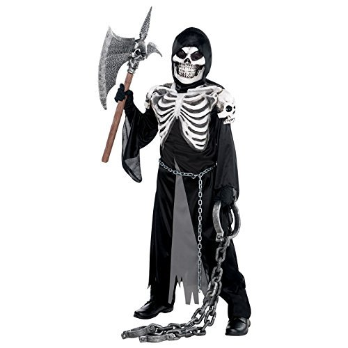Age 12-14 Years - Boys Grim Reaper Skeleton Crypt Keeper Fancy Dress Costume X-Ray Bones Kids Teens Dungeon Monster Zombie Outfit by Fancy Dress (Xray Skeleton Kids Costume)