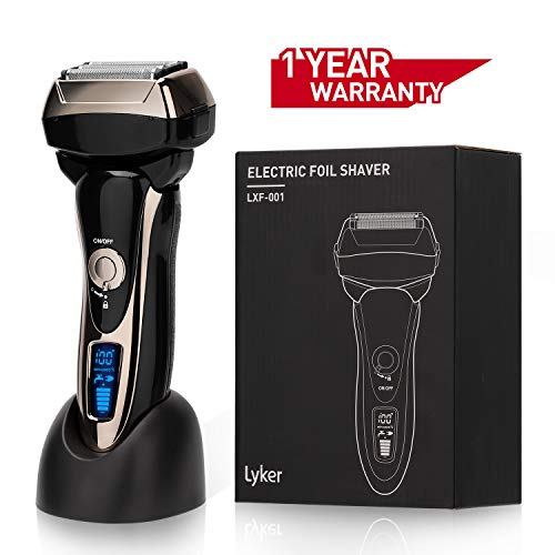 Mens Electric Foil Shaver/Electric Razor,Foil Shaver Rechargeble, 4-Blade with Multi-Flex Pivoting Head and Dual Motor,Pop-up Trimmer Wet-Dry for Men's Shaving and Trimming