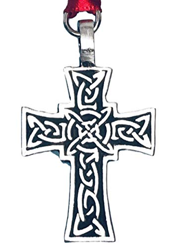 Pewter Celtic Knot Cross Irish Christmas Ornament and Holiday Decoration]()