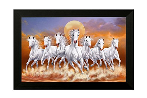 lucky running horses Framed Synthetic SAF Wall Art Paintings